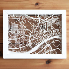Load image into Gallery viewer, Map of Newcastle England | Papercut Map Art | UK Travel Gift Ideas | Newcastle City Map | Map Wall Art | Newcastle Map | England Map | UK Papercut City Maps