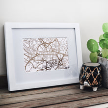Load image into Gallery viewer, Map of Leeds England | Rose Gold Foil Map Art | Travel Gift Ideas | Leeds City Map | Map Wall Art | Leeds Map | UK Map | UK Foil City Maps