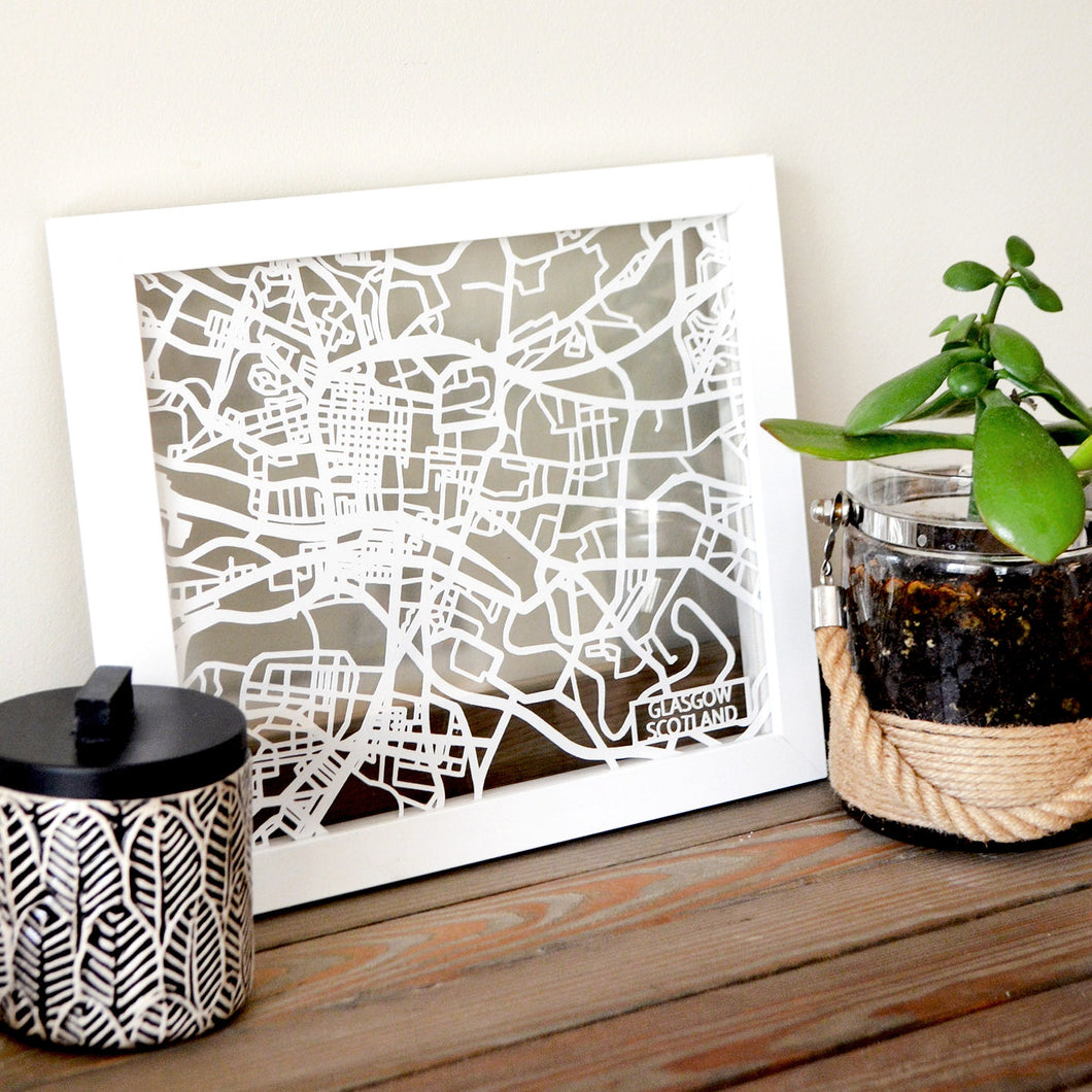 Map of Glasgow Scotland | Papercut Map Art | Travel Gift Ideas | Glasgow City Map | Map Wall Art | Glasgow Map | Scotland Map | Scotland Papercut City Maps