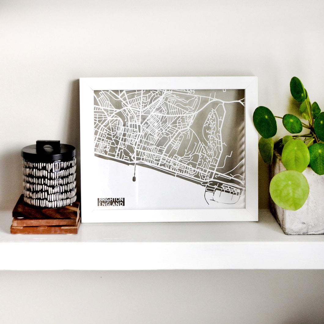Map of Brighton England | Papercut Map Art | UK Travel Gift Ideas | Brighton City Map | Map Wall Art | Brighton Map | England Map | UK Papercut City Maps