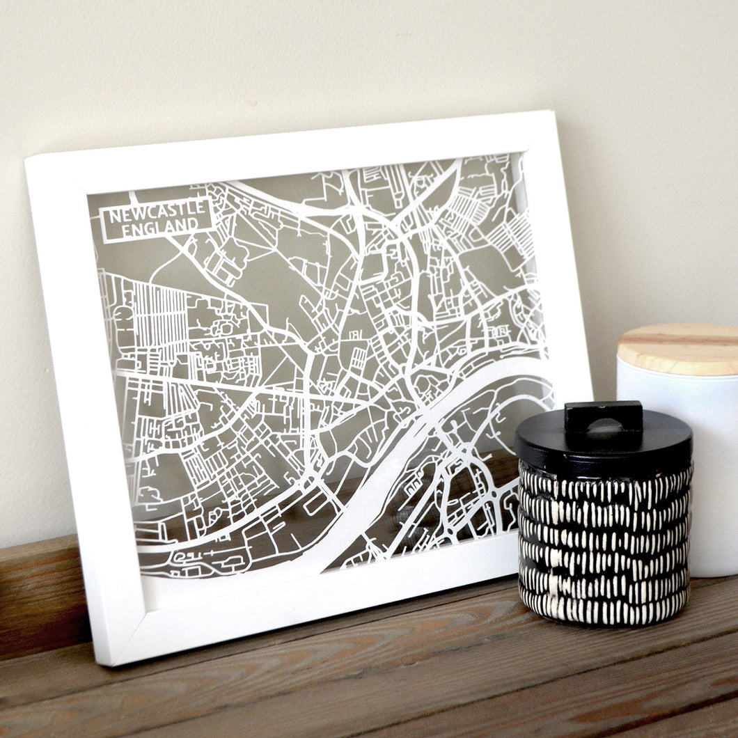 Map of Newcastle England | Papercut Map Art | UK Travel Gift Ideas | Newcastle City Map | Map Wall Art | Newcastle Map | England Map | UK Papercut City Maps
