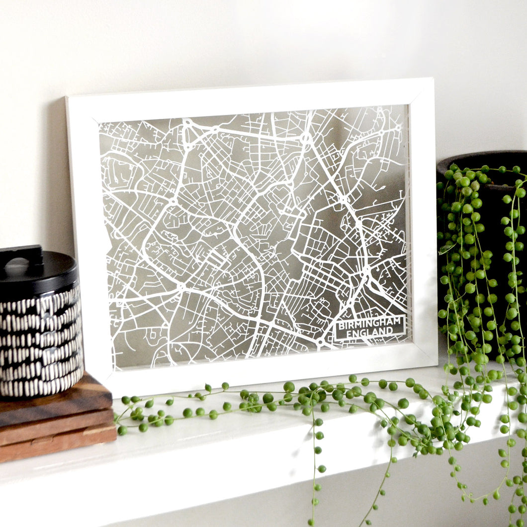 Map of Birmingham England | Papercut Map Art | UK Travel Gift Ideas | Birmingham City Map | Map Wall Art | Birmingham Map | England Map | UK Papercut City Maps