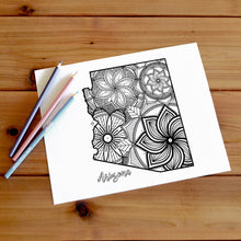 Load image into Gallery viewer, arizona usa coloring pages | state map coloring pages for adults | Coloring pages for kids | usa map coloring sheets | state map coloring page | united states coloring page | united states of america | map of america