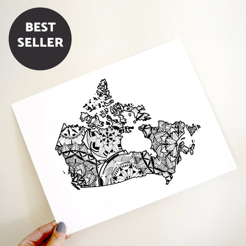 Map of Canada | Map Art | Travel Gift Ideas | Canada City Map | Map Wall Art | Canadian provinces of Canada