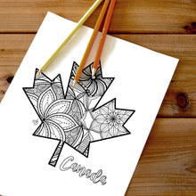 Load image into Gallery viewer, maple leaf canada coloring pages | Coloring pages for adults | Coloring pages for kids | canada map coloring sheets | maple leaf coloring page | canadian provinces coloring page