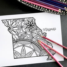 Load image into Gallery viewer, missouri usa coloring pages | state map coloring pages for adults | Coloring pages for kids | missouri usa map coloring sheets | state map coloring page | united states coloring page | united states of america | map of america