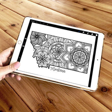 Load image into Gallery viewer, montana usa coloring pages | state map coloring pages for adults | Coloring pages for kids | montana usa map coloring sheets | state map coloring page | united states coloring page | united states of america | map of america