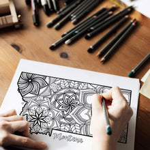 Load image into Gallery viewer, montana usa coloring pages | state map coloring pages for adults | Coloring pages for kids | usa map coloring sheets | state map coloring page | united states coloring page | united states of america | map of america