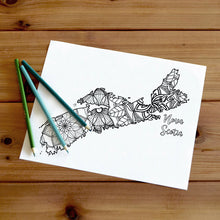 Load image into Gallery viewer, nova scotia canada coloring pages | Coloring pages for adults | Coloring pages for kids | canada map coloring sheets | nova scotia map coloring page | canadian provinces coloring page