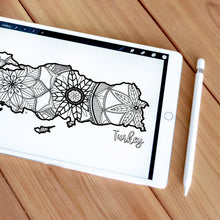 Load image into Gallery viewer, turkey coloring pages | Coloring pages for adults | Coloring pages for kids | turkey map coloring sheets | turkey map coloring page | turkey coloring page