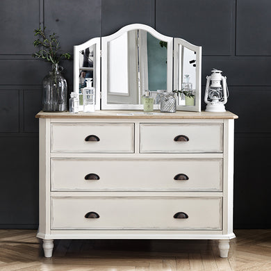 【PRE-ORDER】 My Signature Parisienne (파리지엔느) 4-Drawer Chest w/ Standing Mirror (Cream)