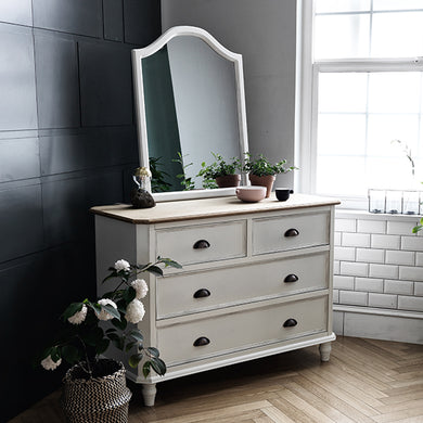 【PRE-ORDER】 My Signature Parisienne (파리지엔느) 4-Drawer Chest w/ Wall Mirror (Cream)