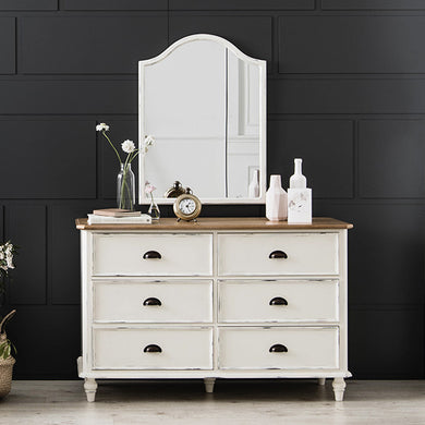 【PRE-ORDER】 My Signature Parisienne (파리지엔느) 6-Drawer Chest w/ Wall Mirror (Cream)