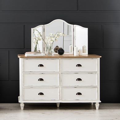 【PRE-ORDER】 My Signature Parisienne (파리지엔느) 6-Drawer Chest w/ Standing Mirror (Cream)