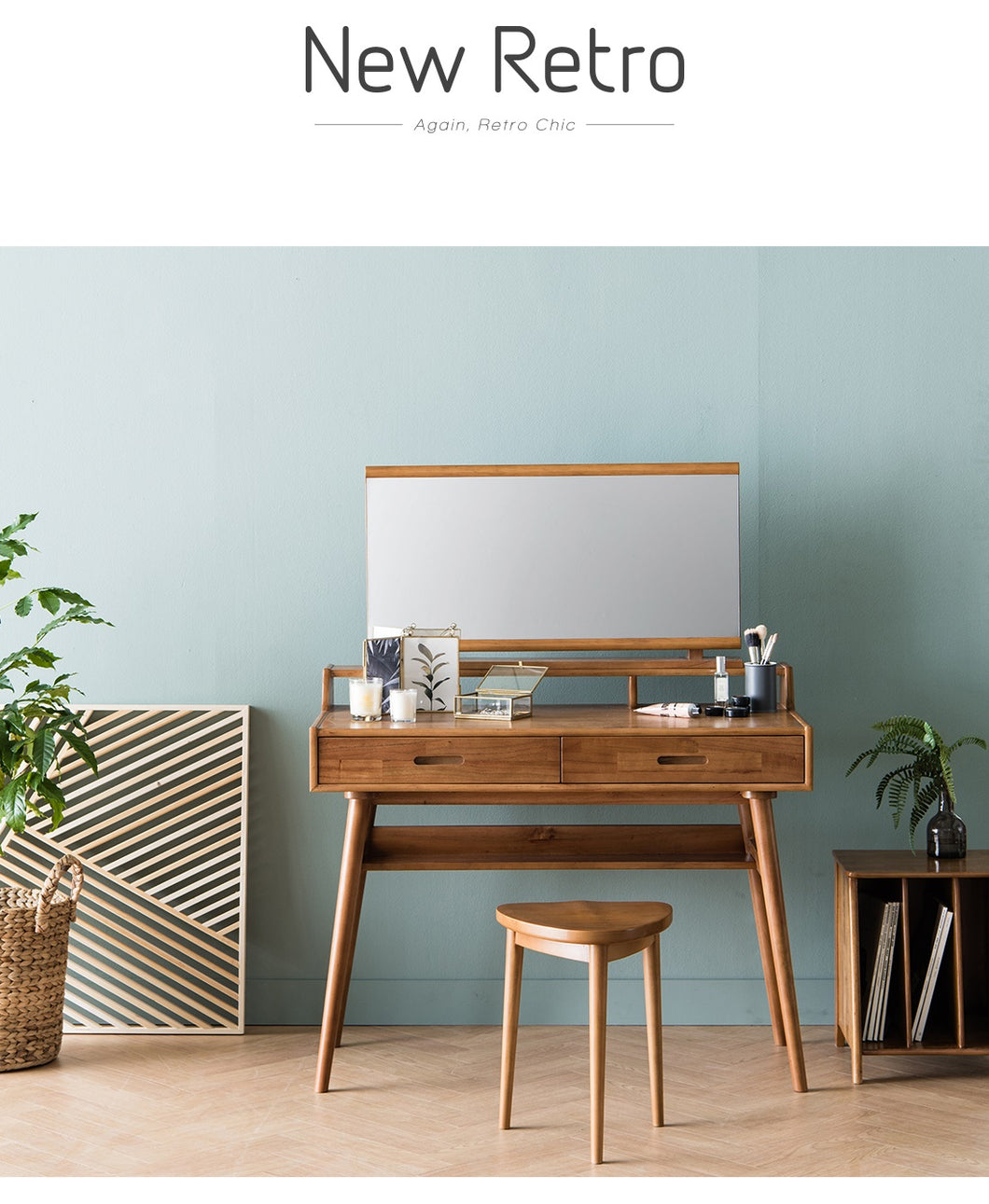 ... New Retro (뉴레트로) Console Table W/ Mirror U0026 Stool ...