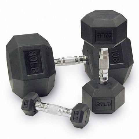 Rubber Hex Dumbbells FREE SHIPPING