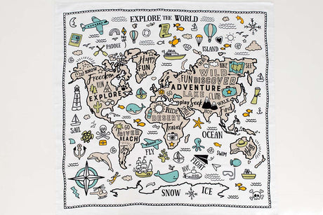 Organic Cotton Large Muslin Wrap - World Explorer
