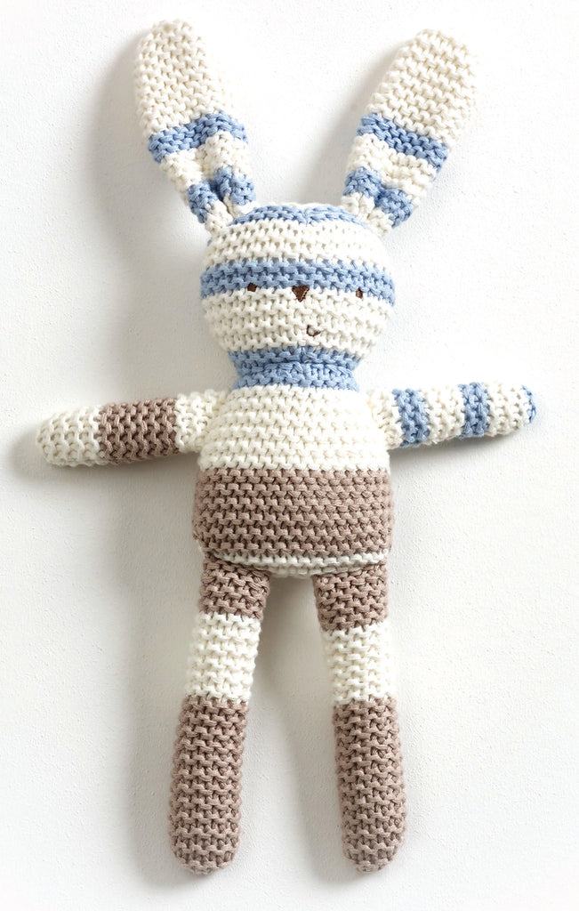 Striped Knitted Bunny Blue