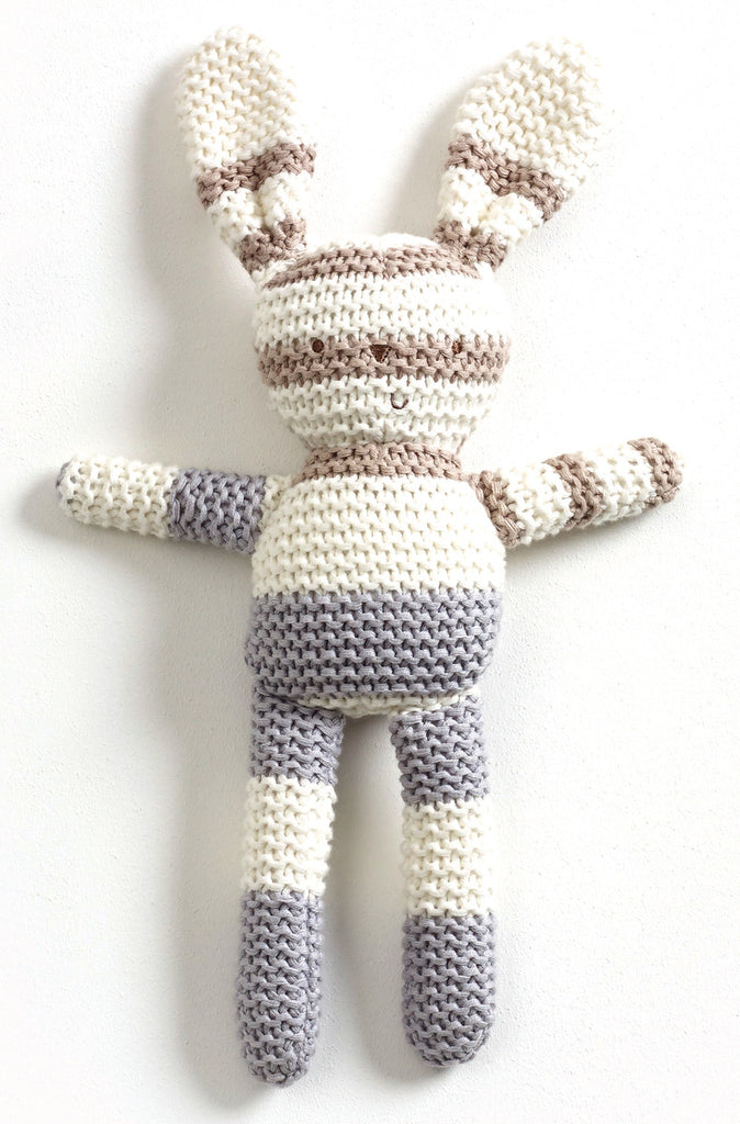 Striped Knitted Bunny - Grey 39cm