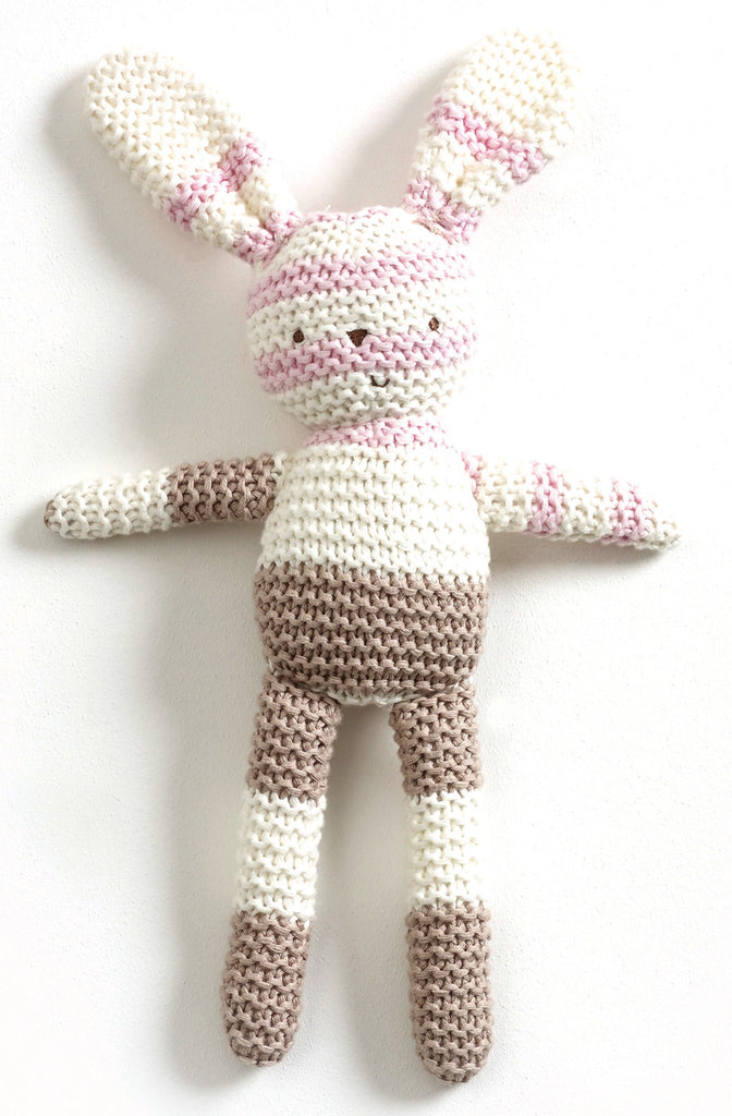 Striped Knitted Bunny - Pink