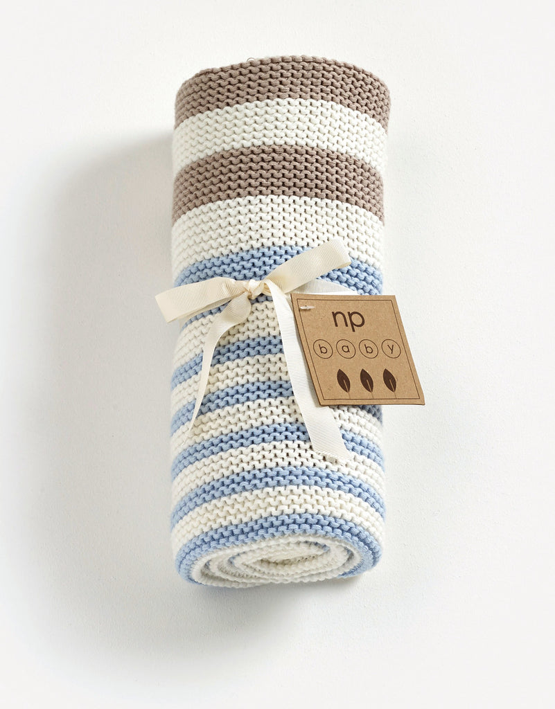 Striped Knitted Blanket - Blue