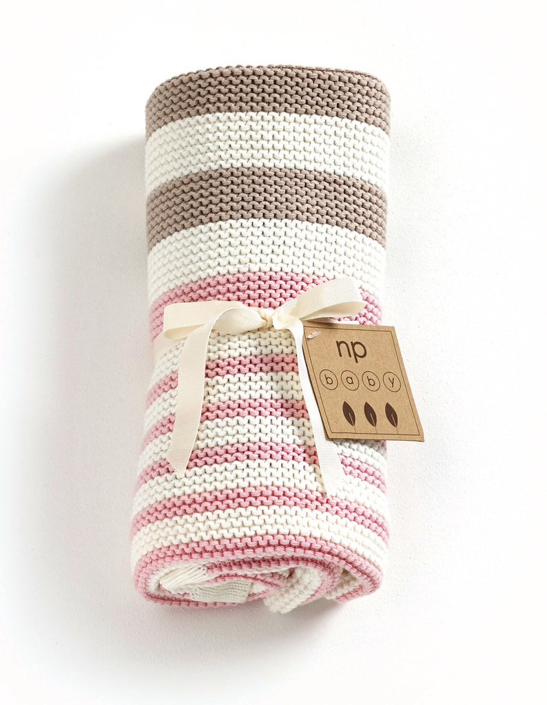 Striped Knitted Blanket - Pink