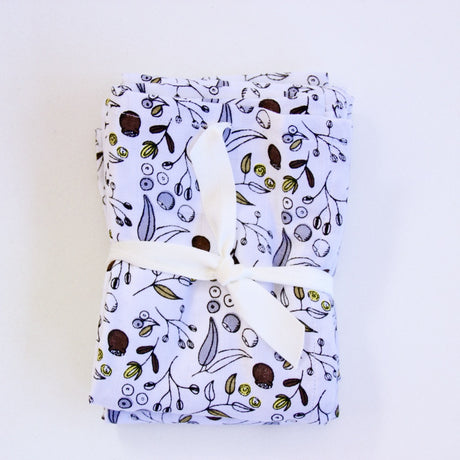 Organic Cotton Large Muslin Wrap - Botanical