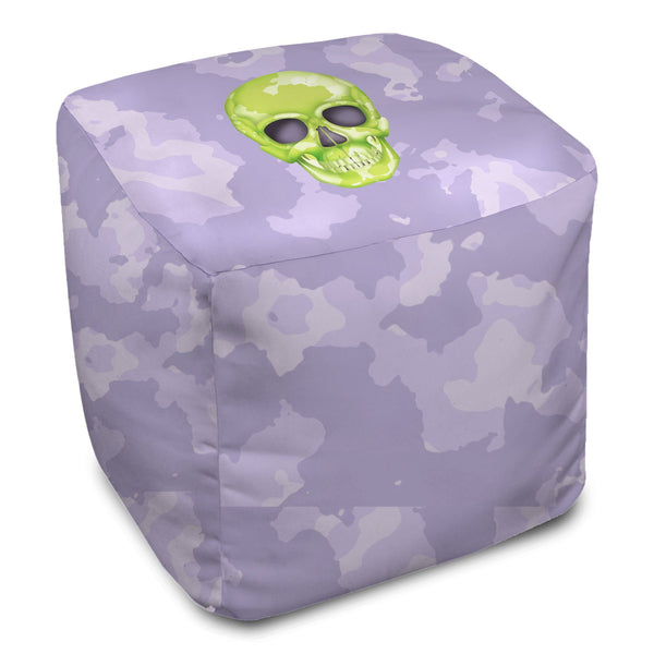 Bean Bag Cube - Skull Camo Lime Green/Lavender throw LeighDeux, LLC