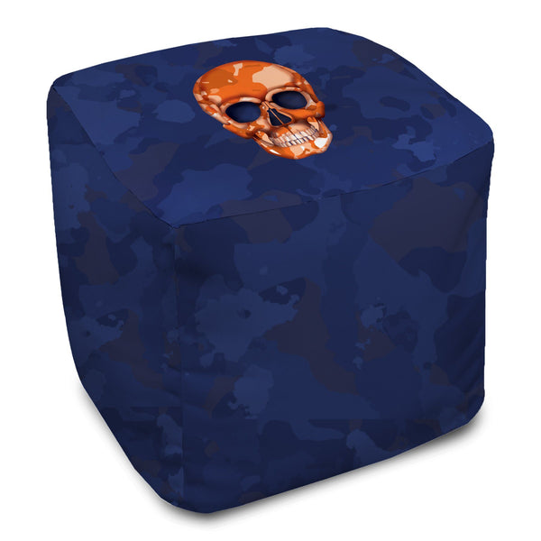 Bean Bag Cube - Skull Camo Navy/Orange throw LeighDeux, LLC