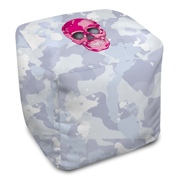 Bean Bag Cube - Skull Camo Nero/Pink throw LeighDeux, LLC