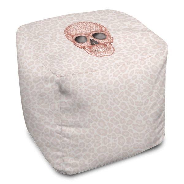 Bean Bag Cube - Skull Tanzania Millennial Pink throw LeighDeux, LLC