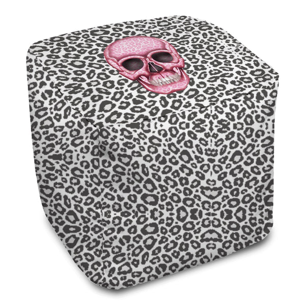 Bean Bag Cube - Skull Tanzania Nero/Hot Pink throw LeighDeux, LLC
