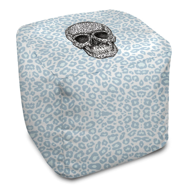 Bean Bag Cube - Skull Tanzania Nero/Peacock throw LeighDeux, LLC