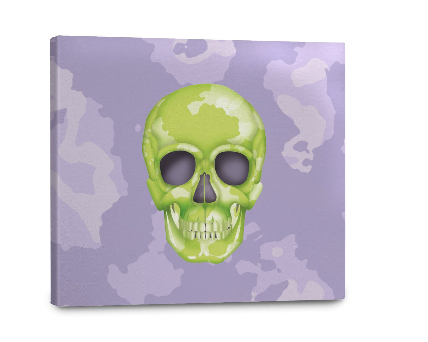 Canvas - Skull Camo Lime Green/Lavender Shop All MWW 16 x 16
