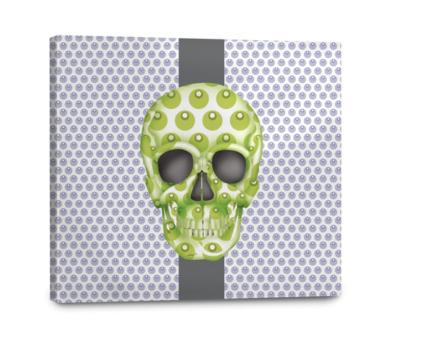 Canvas - Skull Luna Stripe Lavender/Lime Shop All MWW 16 x 16