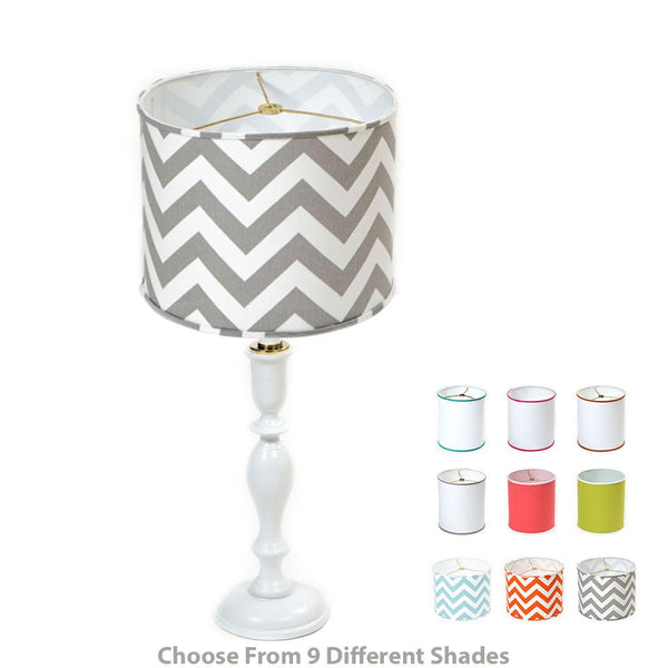 Collegiate Column Lamp (shade included) Shop All,Lamps YESSICAS White White Drum Shade with Aqua Band