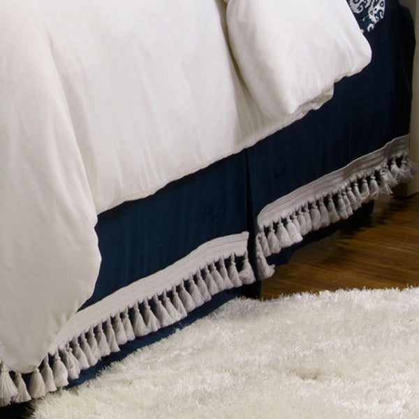 Curtain Call Bed Skirt - Navy Shop All,Last Call SALE Springs Twin XL