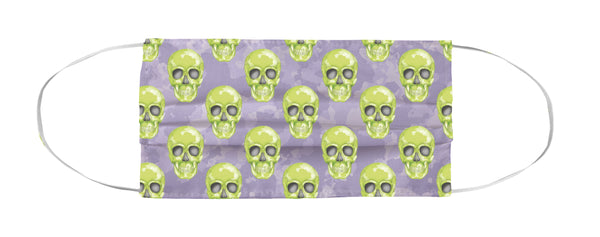 Face Mask Coverlet - Skull Camo Lime Green/Lavender Shop All MWW