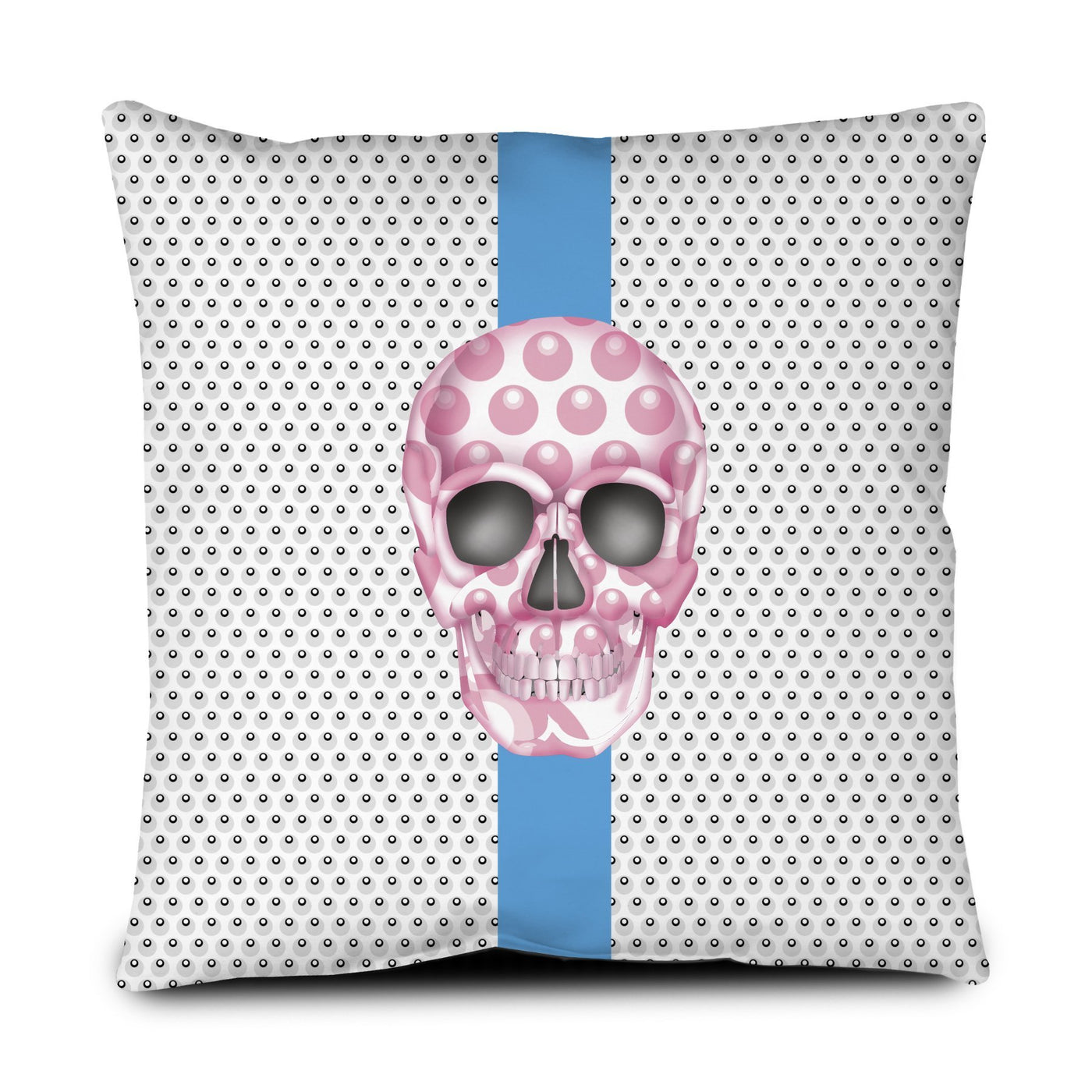 Floor Pillow - Skull Luna Stripe Nero/Pink throw LeighDeux, LLC