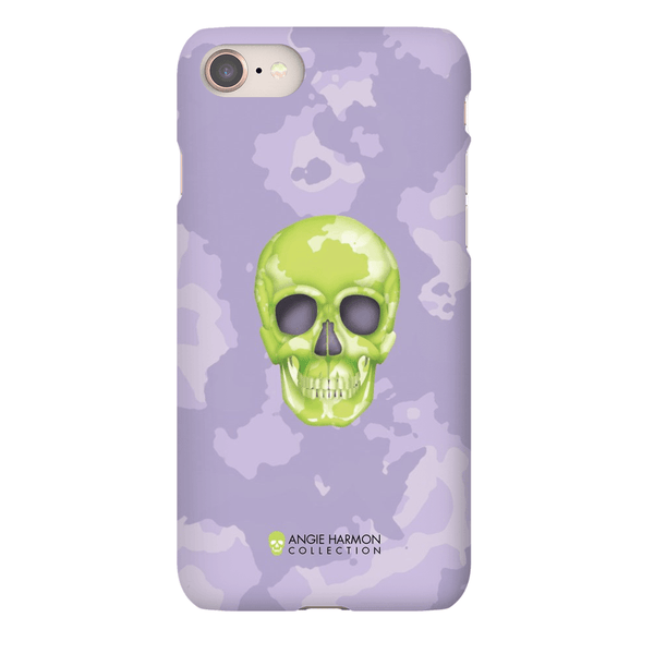 LeighDeux Phone Cases - Skull Camo Lime/Lavender Phone Case LeighDeux, LLC iPhone 8 Premium Glossy Snap Case