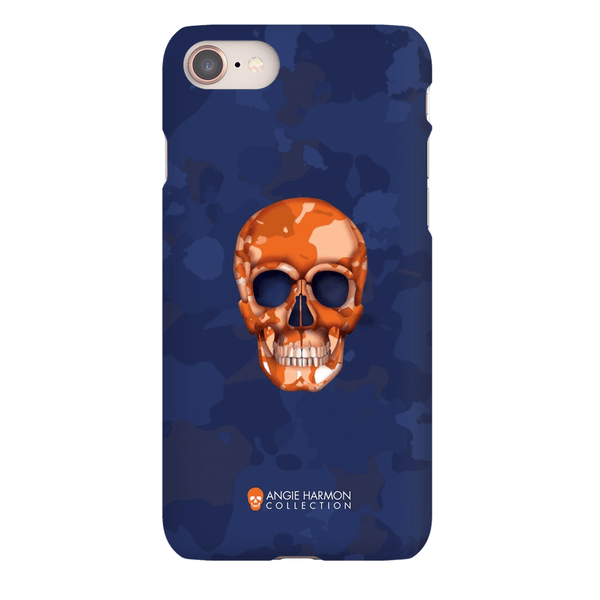 LeighDeux Phone Cases- Skull Camo Navy/Orange Phone Case LeighDeux, LLC iPhone 8 Premium Glossy Snap Case
