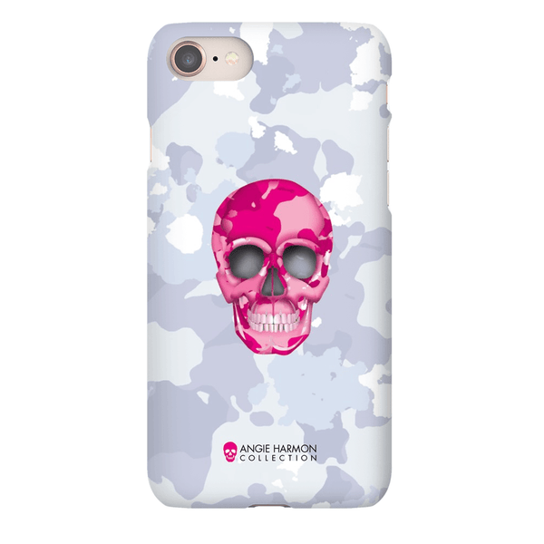 LeighDeux Phone Cases- Skull Camo Nero/Pink Phone Case LeighDeux, LLC iPhone 8 Premium Glossy Snap Case