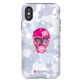LeighDeux Phone Cases- Skull Camo Nero/Pink Phone Case LeighDeux, LLC iPhone X Premium Glossy Tough Case