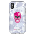 LeighDeux Phone Cases- Skull Camo Nero/Pink Phone Case LeighDeux, LLC iPhone XS Premium Glossy Tough Case