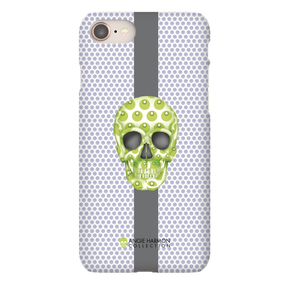 LeighDeux Phone Cases - Skull Luna Stripe Lime/Lavender Phone Case LeighDeux, LLC Premium Glossy Snap Case iPhone 8