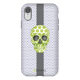 LeighDeux Phone Cases - Skull Luna Stripe Lime/Lavender Phone Case LeighDeux, LLC Premium Glossy Tough Case iPhone XR