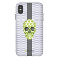LeighDeux Phone Cases - Skull Luna Stripe Lime/Lavender Phone Case LeighDeux, LLC Premium Glossy Tough Case iPhone XS Max