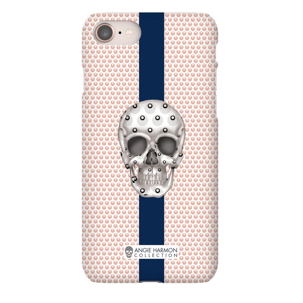 LeighDeux Phone Cases - Skull Luna Stripe Millennial/Nero Phone Case LeighDeux, LLC Premium Glossy Snap Case iPhone 8