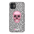 LeighDeux Phone Cases- Skull Tanzania Nero/Hot Pink Phone Case LeighDeux, LLC iPhone 11 Premium Glossy Snap Case