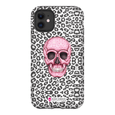 LeighDeux Phone Cases- Skull Tanzania Nero/Hot Pink Phone Case LeighDeux, LLC iPhone 11 Premium Glossy Tough Case
